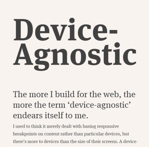 Device Agnostic Design