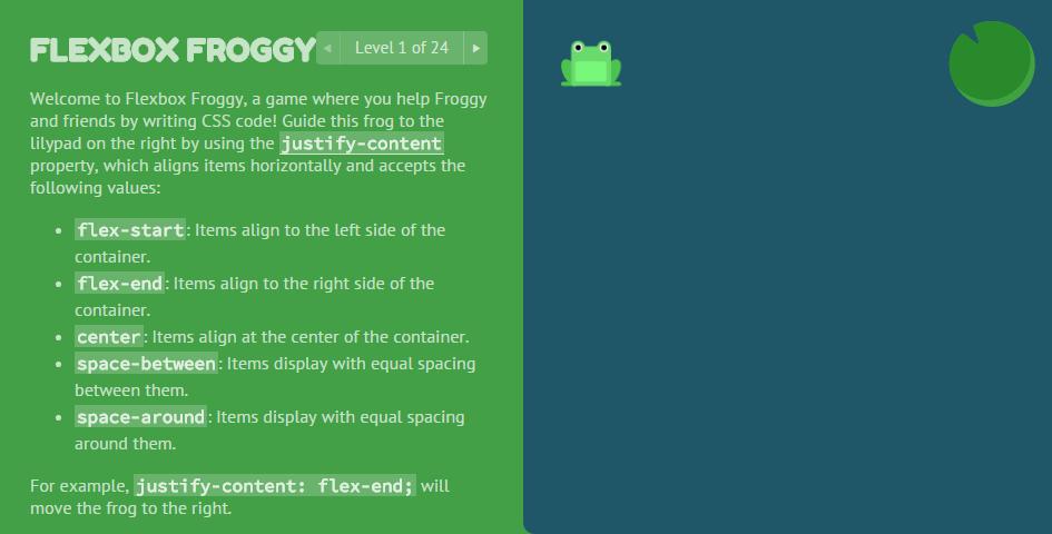 Flexbox Froggy Game